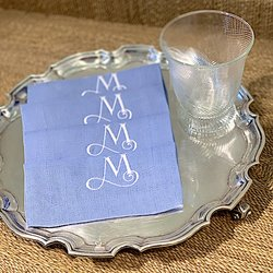 Set of four monogrammed cocktai napkins